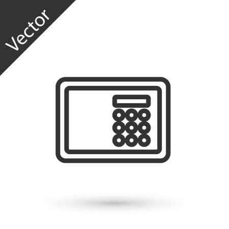 Grey line Safe icon isolated on white background. The door safe a bank vault with a combination lock. Reliable Data Protection.  Vector.