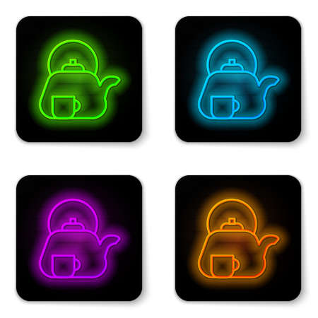 Glowing neon line Traditional tea ceremony icon isolated on white background. Teapot with cup. Black square button. Vector. Ilustrace
