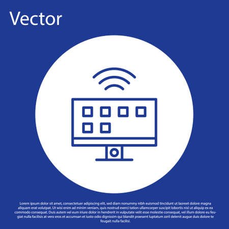 Blue line Smart Tv system icon isolated on blue background. Television sign. Internet of things concept with wireless connection. White circle button. Vector.