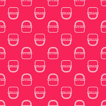 White line Basket icon isolated seamless pattern on red background. Online buying concept. Delivery service sign. Shopping cart symbol.  Vector.
