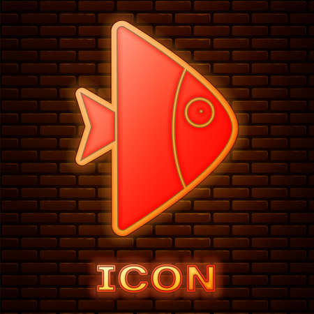 Glowing neon Fish icon isolated on brick wall background. Vector..