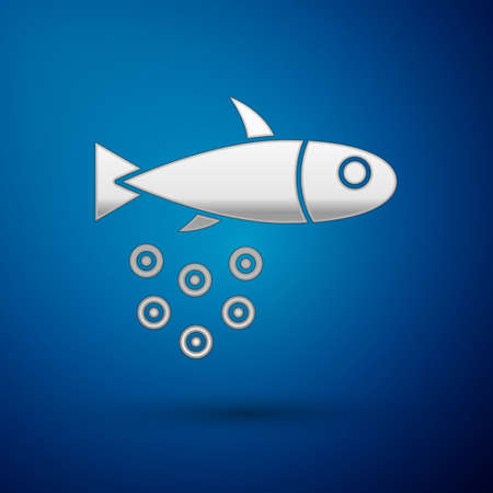Silver Fish with caviar icon isolated on blue background. Vector..