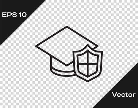 Black line Graduation cap with shield icon isolated on transparent background. Insurance concept. Security, safety, protection, protect concept. Vector..