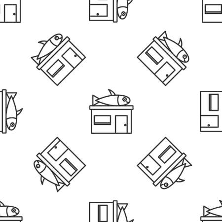Grey line Seafood store icon isolated seamless pattern on white background. Facade of seafood market. Vector..