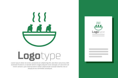 Green line Soup with shrimps icon isolated on white background. Tom yum kung soup. Logo design template element. Vector..
