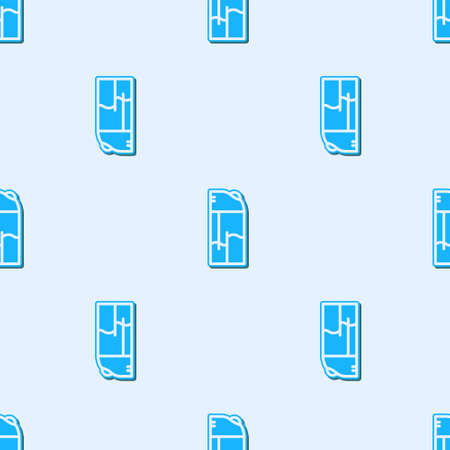 Blue line Lighter icon isolated seamless pattern on grey background. Vector. Stock Illustratie