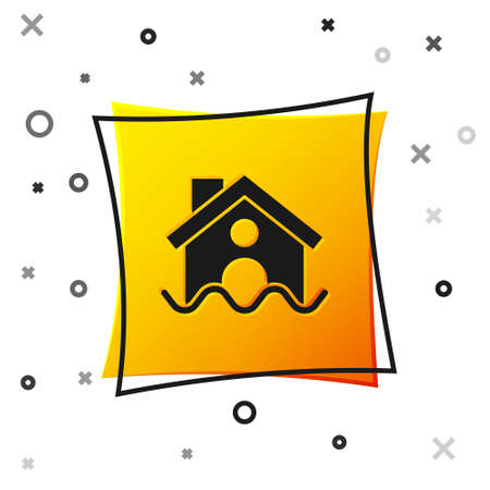 Black House flood icon isolated on white background. Home flooding under water. Insurance concept. Security, safety, protection, protect concept...