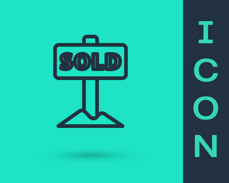 Black line Hanging sign with text Sold icon isolated on green background. Sold sticker. Sold signboard. Vector. Ilustração