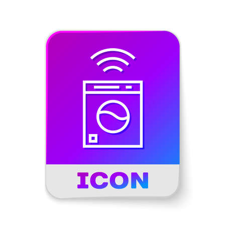 White line Smart washer system icon isolated on white background. Washing machine icon. Internet of things concept with wireless connection. Rectangle color button. Vector.