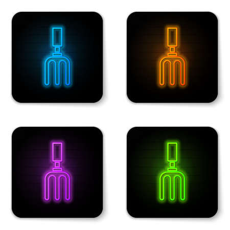 Glowing neon Garden rake icon isolated on white background. Tool for horticulture, agriculture, farming. Ground cultivator. Black square button. Vector.