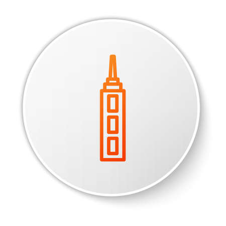Orange line Skyscraper icon isolated on white background. Metropolis architecture panoramic landscape. White circle button. Vector.