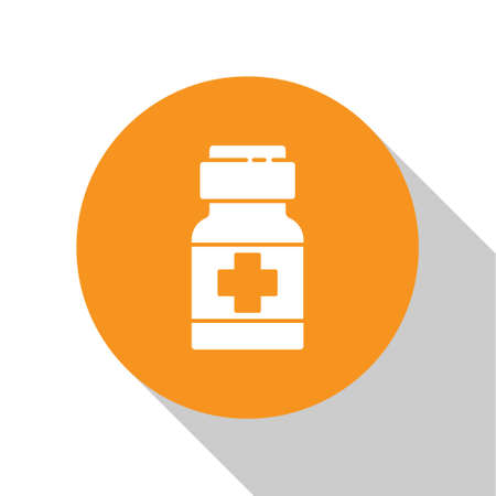 White Medicine bottle and pills icon isolated on white background. Medical drug package for tablet, vitamin, antibiotic, aspirin. Orange circle button. Vector.. 向量圖像