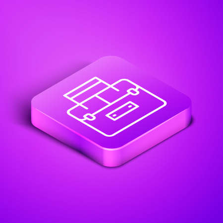 Isometric line Case or box container for wobbler and gear fishing equipment icon isolated on purple background. Fishing tackle. Purple square button. Vector.