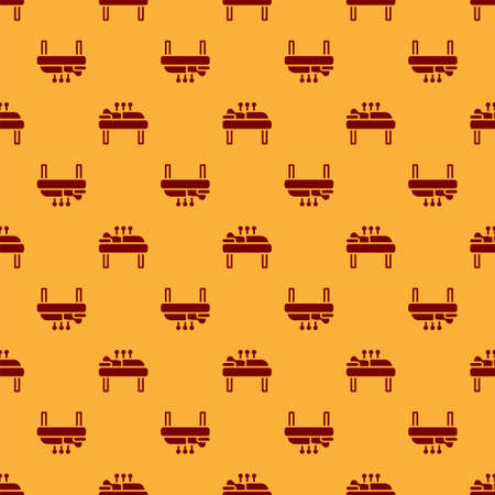 Red Acupuncture therapy icon isolated seamless pattern on brown background. Chinese medicine. Holistic pain management treatments. Vector. 向量圖像