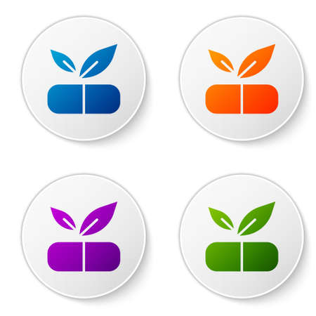 Color Medical pill with plant icon isolated on white background. Herbal pill. Set icons in circle buttons. Vector. 向量圖像