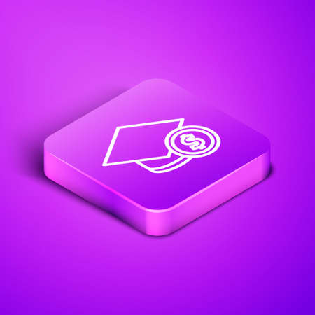 Isometric line Graduation cap and coin icon isolated on purple background. Education and money. Concept of scholarship cost or loan, tuition or study fee. Purple square button. Vector..