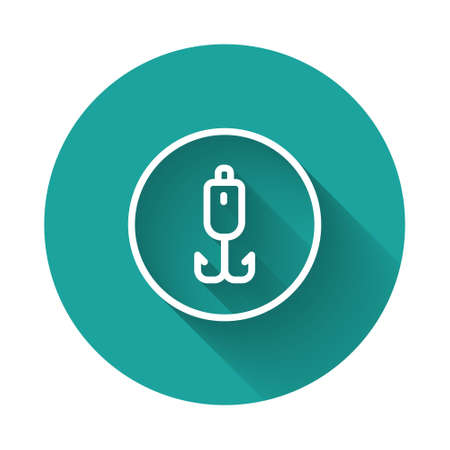 White line Fishing hook icon isolated with long shadow. Fishing tackle. Green circle button. Vector.