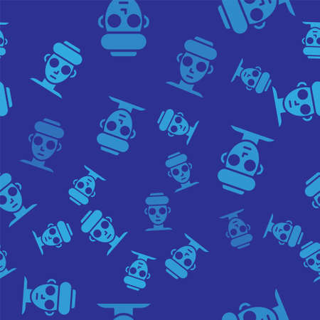 Blue Facial cosmetic mask icon isolated seamless pattern on blue background. Cosmetology, medicine and health care. Vector.