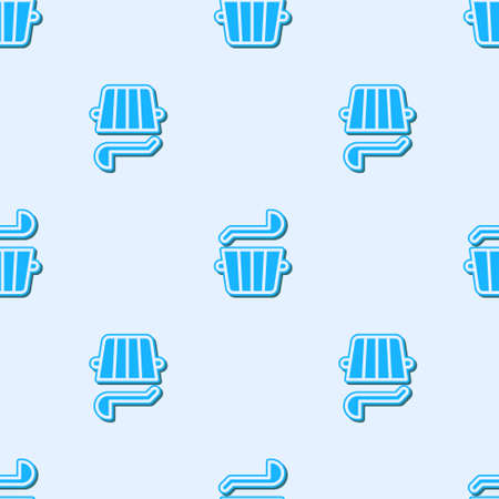 Blue line Sauna bucket and ladle icon isolated seamless pattern on grey background. Vector. Stock Illustratie