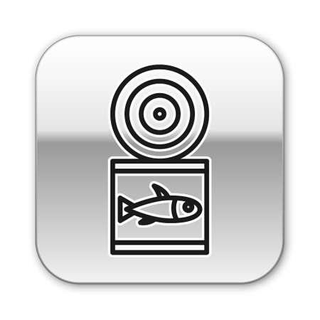 Black line Canned fish icon isolated on white background. Silver square button. Vector..