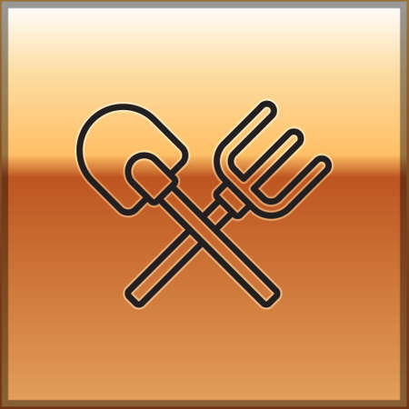 Black line Shovel and rake icon isolated on gold background. Tool for horticulture, agriculture, gardening, farming. Ground cultivator.  Vector. 일러스트