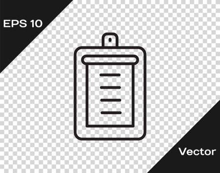 Black line Clipboard with checklist icon isolated on transparent background. Control list symbol. Survey poll or questionnaire feedback form. Vector.