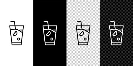 Set line Fresh smoothie icon isolated on black and white background. Vector.