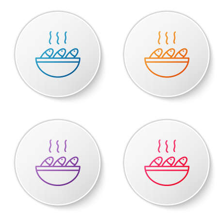 Color line Fish soup icon isolated on white background. Set icons in circle buttons. Vector..