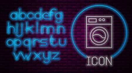 Glowing neon line Washer icon isolated on brick wall background. Washing machine icon. Clothes washer - laundry machine. Home appliance symbol. Neon light alphabet. Vector.
