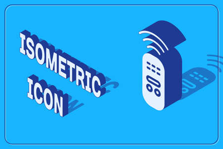 Isometric Smart remote control system icon isolated on blue background. Internet of things concept with wireless connection.  Vector.