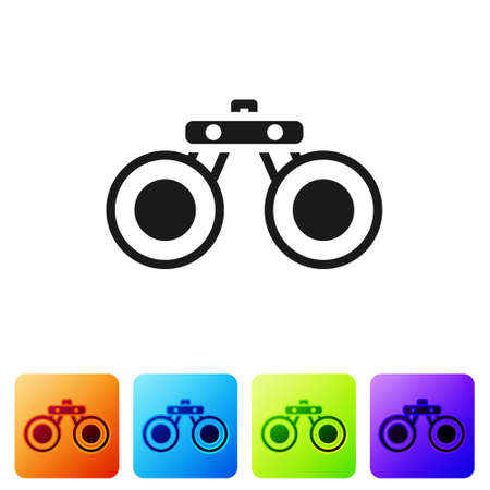 Black Binoculars icon isolated on white background. Find software sign. Spy equipment symbol. Set icons in color square buttons. Vector.
