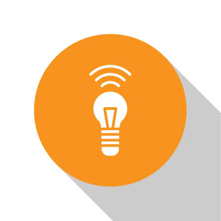 White Smart light bulb system icon isolated on white background. Energy and idea symbol. Internet of things concept with wireless connection. Orange circle button. Vector.