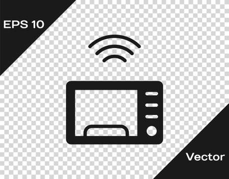 Black Smart microwave oven system icon isolated on transparent background. Home appliances icon. Internet of things concept with wireless connection.  Vector.