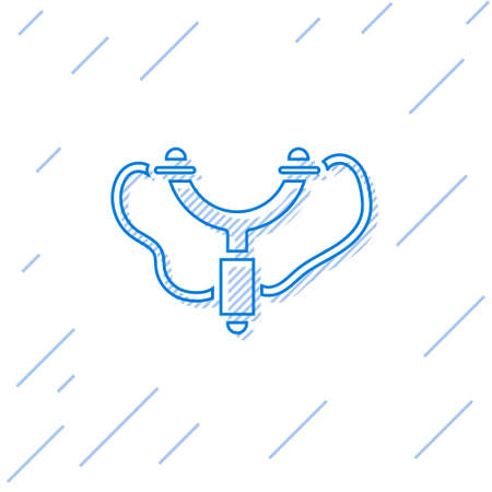 Blue line Slingshot icon isolated on white background. Vector.