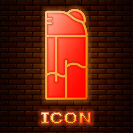 Glowing neon Lighter icon isolated on brick wall background. Vector.