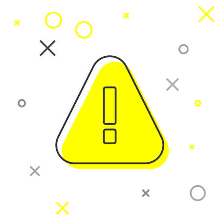 Grey line Exclamation mark in triangle icon isolated on white background. Hazard warning sign, careful, attention, danger warning sign.  Vector. Çizim