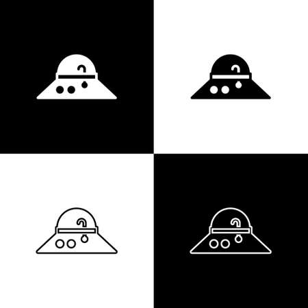 Set Fisherman hat icon isolated on black and white background. Vector.