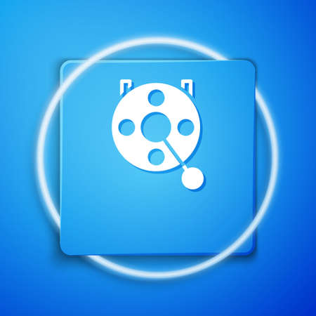 White Spinning reel for fishing icon isolated on blue background. Fishing coil. Fishing tackle. Blue square button. Vector.