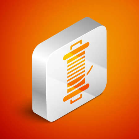 Isometric Spinning reel for fishing icon isolated on orange background. Fishing coil. Fishing tackle. Silver square button. Vector. Illusztráció