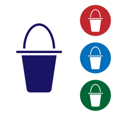 Blue Fishing bucket icon isolated on white background. Fish in a bucket. Set icons in color square buttons. Vector.