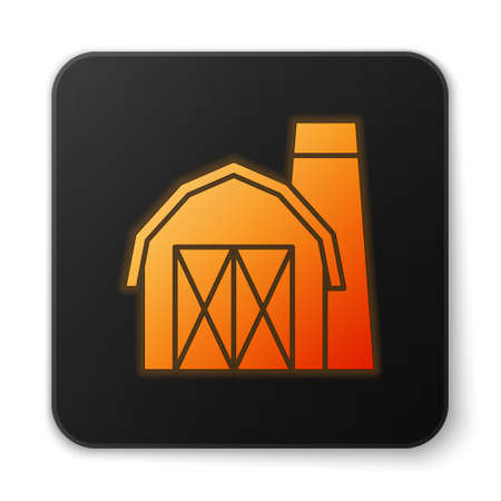 Orange glowing neon Farm house icon isolated on white background. Black square button. Vector. Çizim
