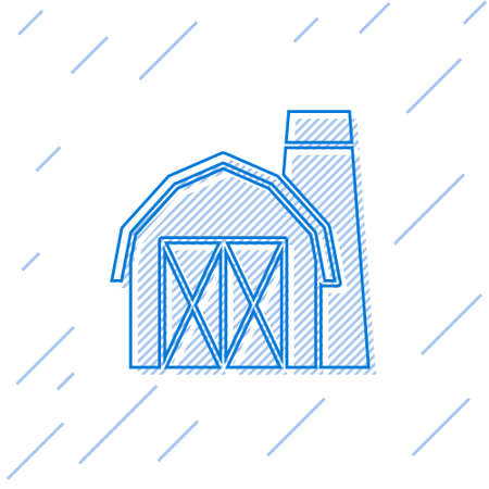 Blue line Farm house icon isolated on white background. Vector.