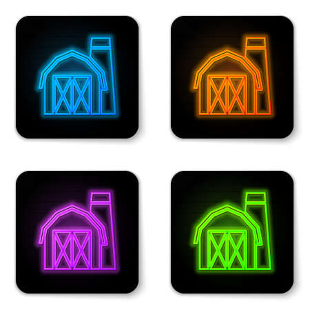 Glowing neon Farm house icon isolated on white background. Black square button. Vector.