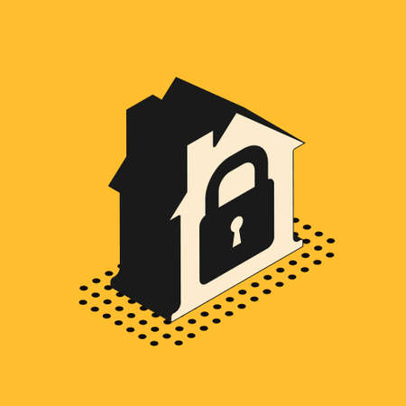 Isometric House under protection icon isolated on yellow background. Home and lock. Protection, safety, security, protect, defense concept. Vector.