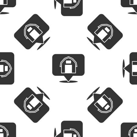 Grey Location farm house icon isolated seamless pattern on white background. Vector. Çizim