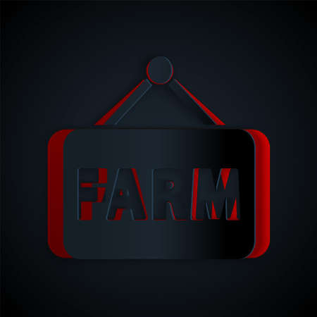 Paper cut Signboard with text Farm icon isolated on black background. Paper art style. Vector.