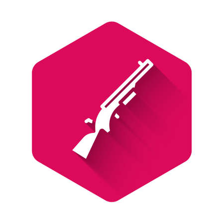 White Shotgun icon isolated with long shadow. Hunting gun. Pink hexagon button. Vector. 向量圖像