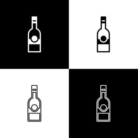 Set Glass bottle of vodka icon isolated on black and white background.  Vector.