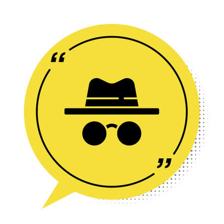 Black Incognito mode icon isolated on white background. Yellow speech bubble symbol. Vector.