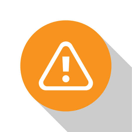 White Exclamation mark in triangle icon isolated on white background. Hazard warning sign, careful, attention, danger warning sign. Orange circle button. Vector. Çizim